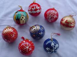 Hand Decorated Christmas Balls CHRISTMAS Ornaments Christmas Tree Baubles Exporter From Srinagar 24