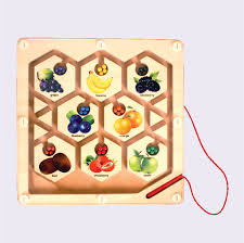 Wooden Maze Games Magnetic Fruit Maze Board Wooden Toys for Kids Wooden Games 84