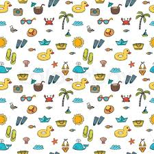 Summer Pattern Delectable Seamless Summer Pattern With Hand Drawn Beach Icons Vector Beach