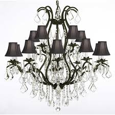 versailles 15 light black wrought iron and crystal chandelier with black shades