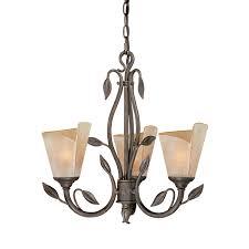 cascadia lighting capri 20 in 3 light black walnut vintage tinted glass shaded chandelier