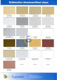 Dye Sublimation Color Chart Aluminum Sublimation With 9 Different Colors For Sublimation Printing