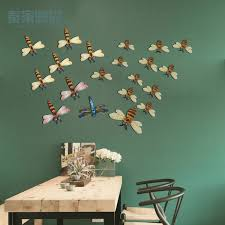 get ations wrought iron garden wall hangings three dimensional simulation dragonfly bee creative home decorative wall restaurant