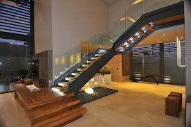 Contemporary Staircase with Ivory 4 in. x 4 in. Honed Travertine Floor and  Wall