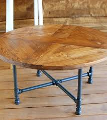 reclaimed wood round pattern coffee table with pipe legs inside round coffee table reclaimed wood