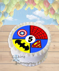 superhero sheet cake superhero symbols edible image round cake topper