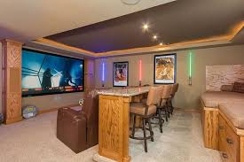 simple home furniture. Interior Hidden Home Theater Simple Ideas Light Orange Painting Color Without Furniture Rustic Wood Bar Table O