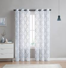 2 pack vcny home charlotte embroidered quatrefoil trellis semi sheer curtain panels assorted colors