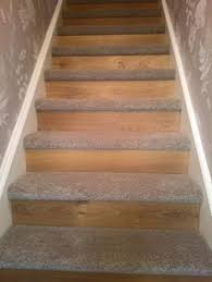 carpet laminate stairs. starting a new trend oak laminate flooring to riser \u0026 thick saxony carpet on tread. transforming an old staircase in something fashionable different. stairs