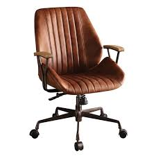 acme hamilton leather swivel office chair in cocoa