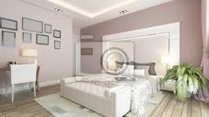 Attractive Fototapete Ein 3D Rendering Der Modernen Schlafzimmer Mit Rosa Wand