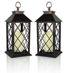 outdoor candles lanterns and lighting. Decorative Lantern - Antiqued Bronze Candle With A Flameless LED Pillar And 5 Hour Outdoor Candles Lanterns Lighting