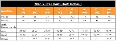 36 Suit Size Chart Leather Jackets Coats Outwears Online Store Size Chart