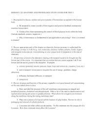 Biology 220 Anatomy And Physiology Study Guide For Test 1