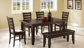 decor bench round decorating set brown sets black dark dining and glass white leather chairs room