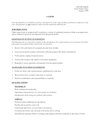 Job Description For Cashier For Resume