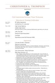 Concrete Finisher / Operator Resume samples. Work Experience. Civil  Construction / Tower Technician ...