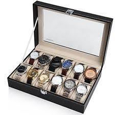 12 watch storage box large watch display case jewelry box leather glass top organizer 12 mens storage
