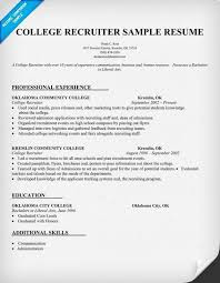 Sample Resume Recruiter Awesome College Recruiter Resume Sample