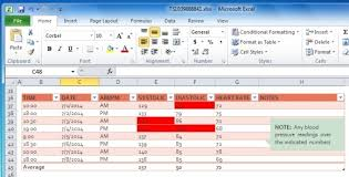 How To Graph Blood Pressure On Excel Blood Pressure Tracker Template For Excel