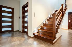 all wood stairs with lights on the side