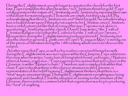 alexander pope an essay on man ppt during the enlightenment people began to question the church for the first time pope