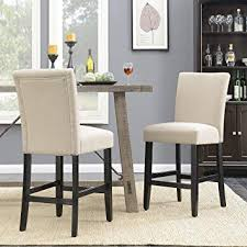 belleze 24 inch dining chairs fabric kitchen parsons urban style counter height chair with solid