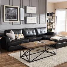 black leather sofa living room. Delighful Living Dobson Black Leather Modern Sectional Sofa On Living Room A