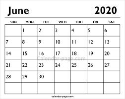2020 June Printable Calendar Page Printable Calendar Pages
