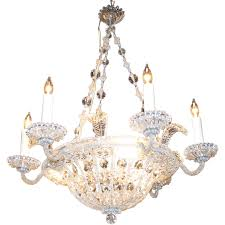italian crystal basket chandelier with 6 arms c 1940s