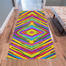 psychedelic geometric graffiti square pattern abstract in blue purple pink yellow green area rug 7 x3 3 id d1667328