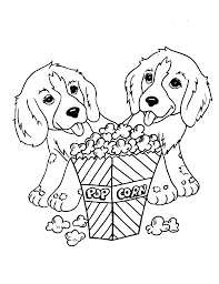 Small Picture Puppies Having PopCorn Coloring Page Animal pages of
