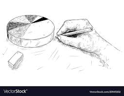 Cartoon Of Hand Drawing Pie Chart Or Graph