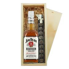 jim beam white and truffles wooden box