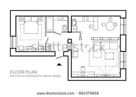 Architectural Plan Of A House Layout Of The Apartment Top View Plan Of Living Room