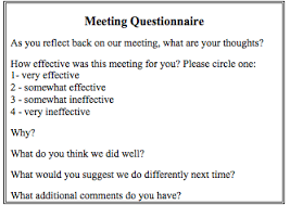 Meeting Survey Template Four Techniques To Evaluate Meeting Effectiveness 4 Written