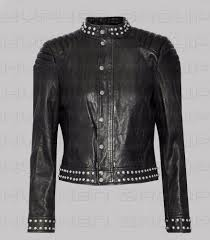 details about new women unique fashion silver studded shoulder quilted on leather jacket