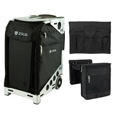 detalles acerca de zuca pro travel black bag and silver frame set with beauty caddy stylist pouch