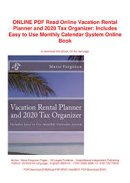 Vacation Planner Online Online Pdf Read Online Vacation Rental Planner And 2020 Tax