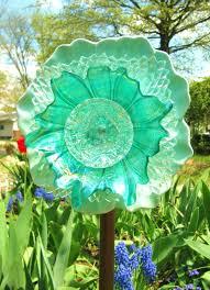 vintage glass garden art plate flower sun catcher flowers