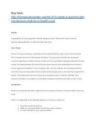 Ethical Decision Making Models Hlt 312v Week 4 Applying Ethical Decision Making In Health Care