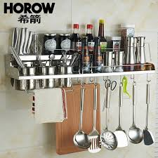 horow 304 stainless steel kitchen rack wall mounted e rack kitchen storage rack kitchen utensils chopsticks knife double layer countertop 80cm long