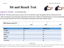 Sit And Reach Test Chart Fitness Testing Booklet