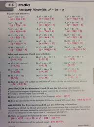 practice 5 4 factoring quadratic expressions worksheet answers