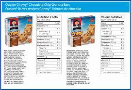 quaker chocolate chip granola bar nutrition label luxury quaker oats chocolate chip granola bar nutritional information