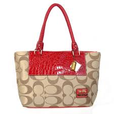 Coach Embossed In Signature Medium Red Totes BMU