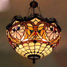 Lustre Tiffany Style Pendant Lamp Bedroom Living Room Kitchen Hanging Lights  Shade Up Stained Glass Home