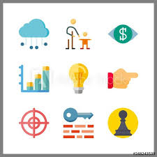 Chart On Cloud Computing 9 Idea Icon Vector Illustration Idea Set Bar Chart And