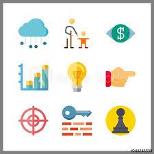 Chart On Cloud Computing 9 Idea Icon Vector Illustration Idea Set Bar Chart And