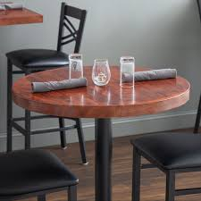 lancaster table seating 30 round recycled wood butcher block table top with mahogany finish